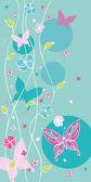 Carta floreale con farfalle — Vettoriale Stock