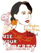 Mulher com o slogan: use seu liberdade — Vetorial Stock