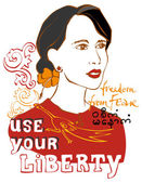 Woman with the slogan: use your liberty — 图库矢量图片
