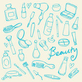 Beauty and cosmetics doodles — Stock Vector