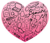 Beauty and cosmetics icons in heart shape — Stock Vector