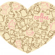 Coffee icons on heart shape — Stock Vector #48663001