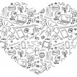 Internet icons in heart shape — Stock Vector #48663739