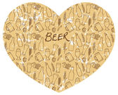 Beer icons  in heart shape — Stock Vector