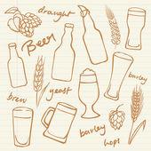 Assorted beer cocktails — Stock Vector
