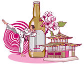 Karate with beer and Japanese temple — Stock Vector