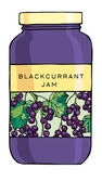 Jar of blackcurrants jam — Stock Vector