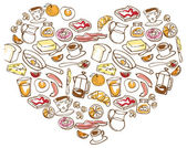 Breakfast foods in heart — Stock Vector