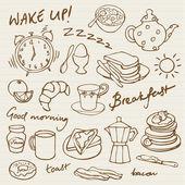 Breakfast doodle — Stock Vector