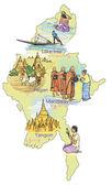 Map of Burma Myanmar — Stock Vector