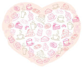 Tea and cakes in heart — 图库矢量图片