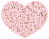 Tea and cakes in heart — Stock Vector