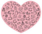 Tea and cakes in heart — Stockvector