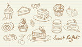 Cakes and bakery doodle — Stockvektor