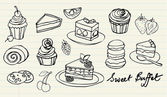 Cakes and bakery doodle — Stock Vector