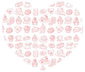 Tea and cakes in heart — Vector de stock