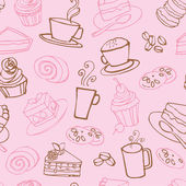 Tea and cakes pattern — Vecteur