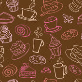 Coffee and cakes  pattern — Vecteur
