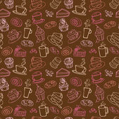 Coffee and cakes  pattern — Stok Vektör