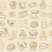 Tea and cakes pattern — Stock Vector