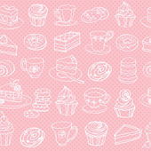 Tea and cakes pattern — Vettoriale Stock