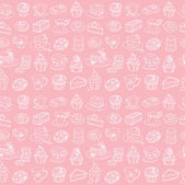 Tea and cakes pattern — ストックベクタ