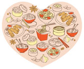 Chinese food in heart — 图库矢量图片