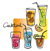 Set of cocktails — Stock Vector