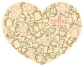 Coffee icons on heart shape — Stock Vector