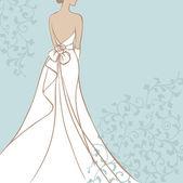 Bride in wedding dress — Stock Vector