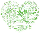 Nature icons in heart shape — Vetorial Stock