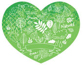 Nature icons in heart shape — Stock Vector