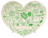 Nature icons in heart shape — Vecteur