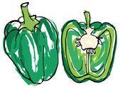 Green bell pepper — Stock Vector