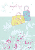 Handbags on  floral background — Stock Vector
