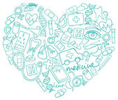 Medical icons  in heart shape — Stockvector