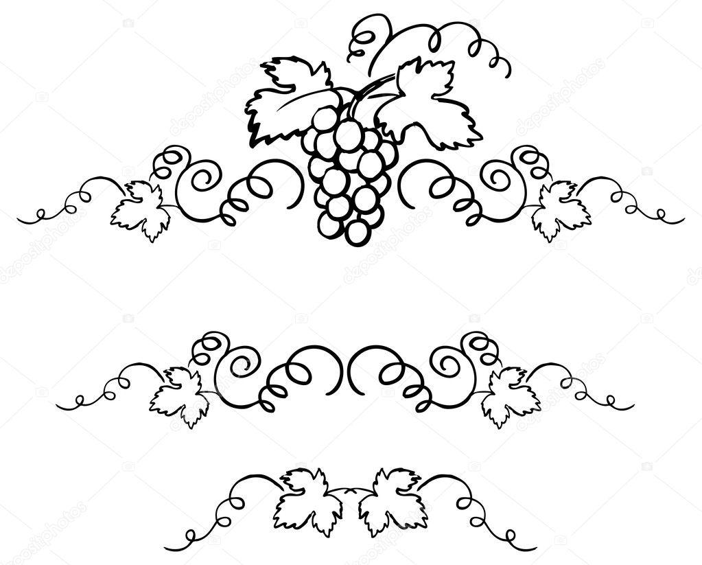 Узоры с виноградными гроздьями