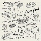 Icone di fast food — Vettoriale Stock