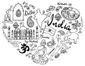 Me encanta la india — Vector de stock