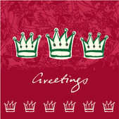 Christmas crowns greeting card — Stock Vector