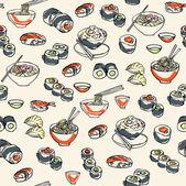 Japanese Sushi Pattern — Stockvektor