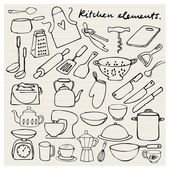Kitchen elements doodle — Stock Vector