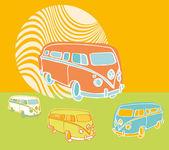Retro travel vans — Stock Vector