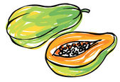 Whole and half papaya — Stock Vector