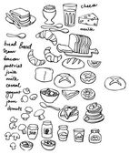 Set of drawing food — Vector de stock