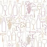 Wine bottles, glasses & grapes — Stock Vector
