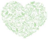 Vegetables in heart — Stock Vector