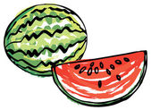 Whole and sliced Watermelon — Stock Vector