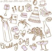 Bröllop ikoner — Stockvektor