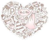 Wedding icons in heart — Stock Vector